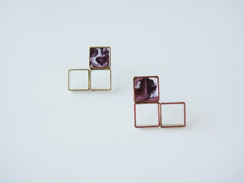 MARBLE WINE- dark red square earrings / handmade hand-made earrings / jewelry gifts