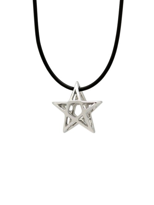 Fine white steel leather cord necklace -Star series - pentagram (female) Pentacle | 8AA00205