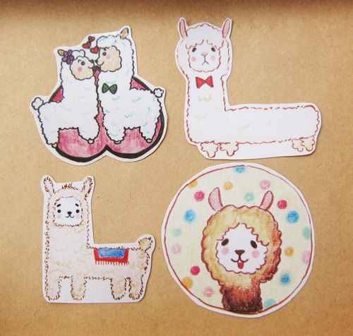 Hand painted illustrator style full waterproof stickers grass mud alpacas four
