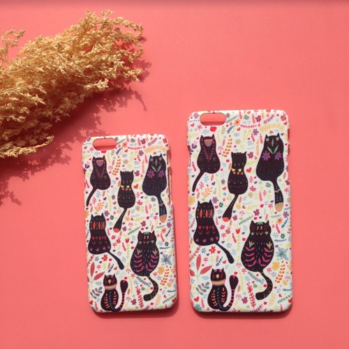 DWL'S LITTLE SHOP- [Hana Yuki] cat cute cat meow star black white flower flower iPhone 7 shell / back shell
