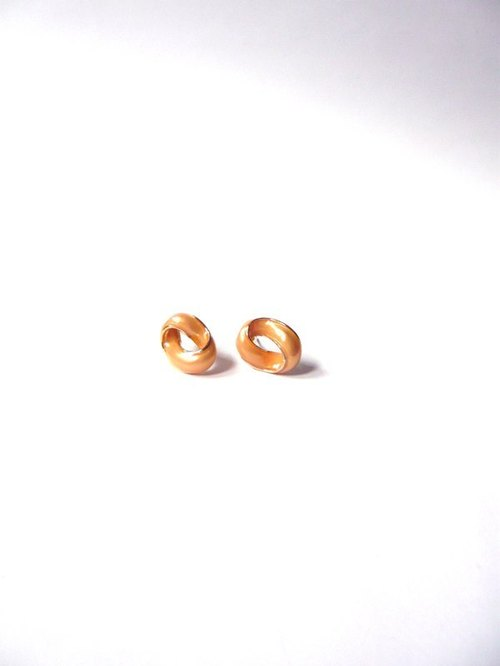 Wave oval earrings temperament (Peach Orange)