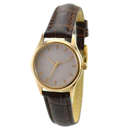 Mother's Day - Women's Rose Gold Watch (beige surface with rose gold nails) Brown belt