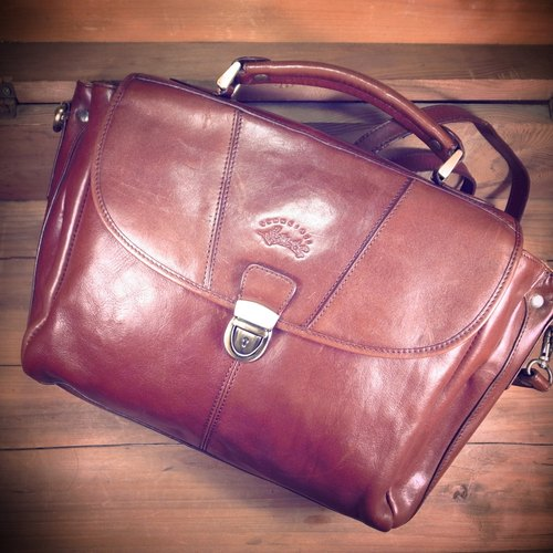 [Bones] early Francinel coffee retro leather briefcase with two dorsal hand print genuine antique bag Vintage