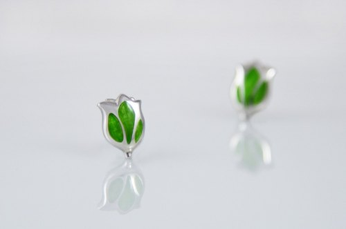 [Wonderland] tulip 925 silver enamel earrings - May Green