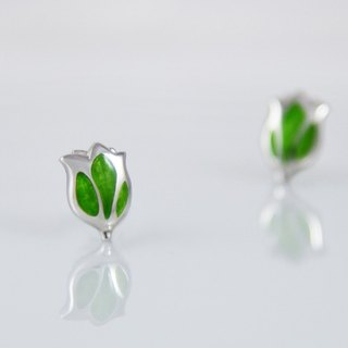 [Wonderland] Tulip 925 Silver Earrings - May Green