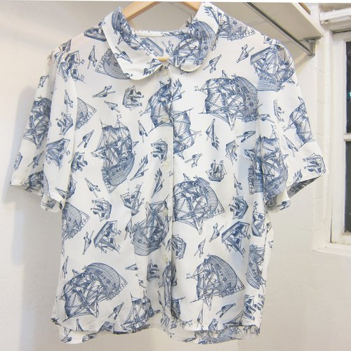 ✵ ✵ model sailing ship era styling vintage shirt