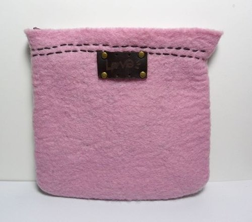 ♥ super limited wool felt handmade pink ● [personality] - zebra lining - 000 packets / cosmetic bag (can be slung)