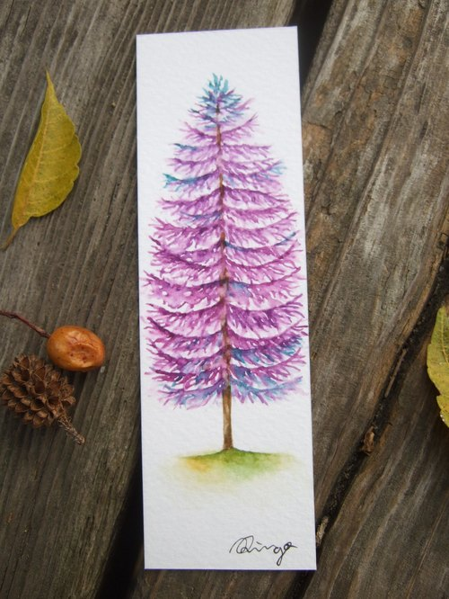 Autumn purple tree - hand-painted watercolor bookmark (original)