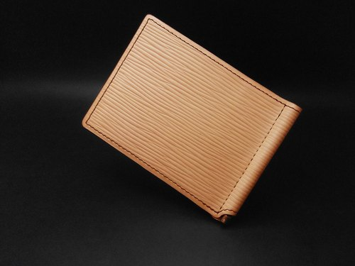 APEE handmade leather money clip ~ ~ ~ primary water ripples / black and brown
