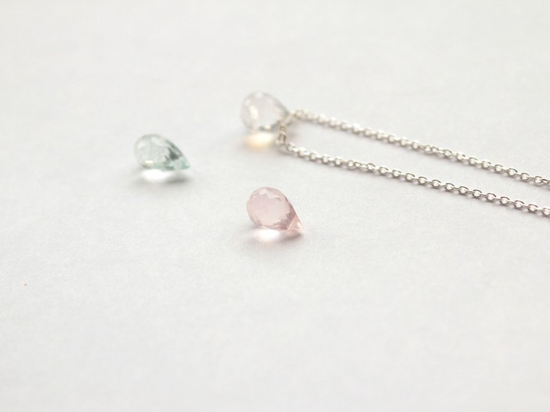 Journal Rose Quartz (Furong) / rainbow semi-precious stones naked muscle Silver necklace clavicle