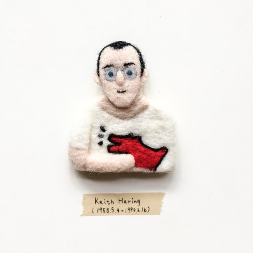 The Artist # 08 Keith Haring Keasling wool felt brooch