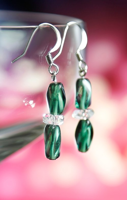 * Christmas gift of choice * E0274 - own design and manufacture of natural gemstone earrings - white crystal / glass