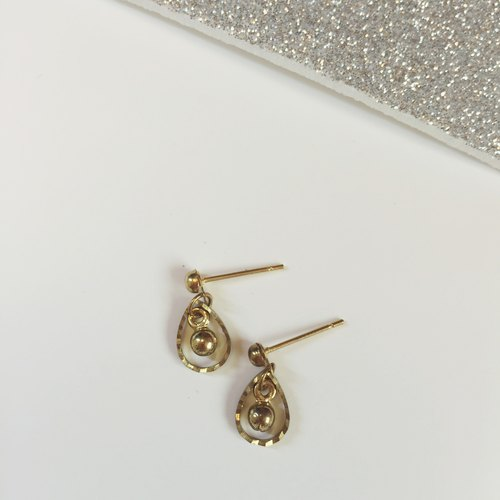 Marygo ﹝ miniiii ﹞ mini-series golden antique pattern cutting small golden ball drop earrings