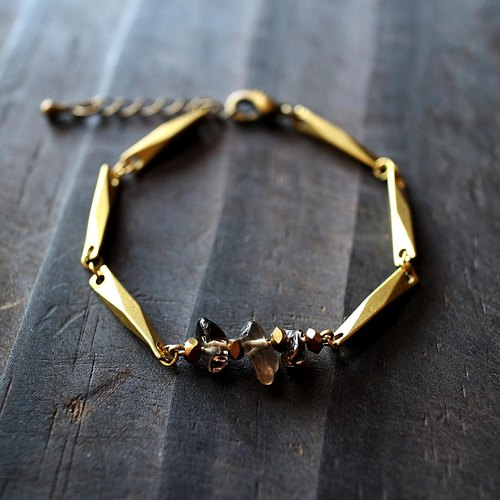 Muse natural wind series NO.164 black citrine bracelet brass section