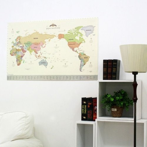 Dessin x Indigo- Around the World World Map Poster (single) - Pastel Version - Parental Edition (limited home delivery), IDG05399
