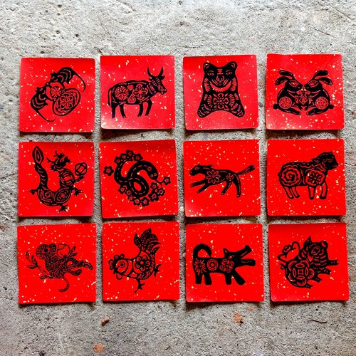 Zodiac Set group (a total of 12 complete set. Each 17x17cm.)