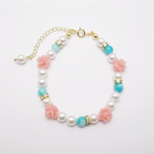 Orange Mu] [MUCHU limited. Coral Rose pearl Amazonite bracelet / bracelet LB033