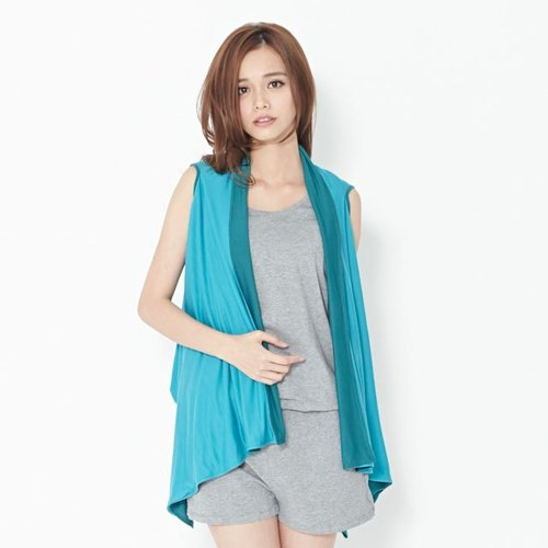 Sandra color blouse / lake green + light blue