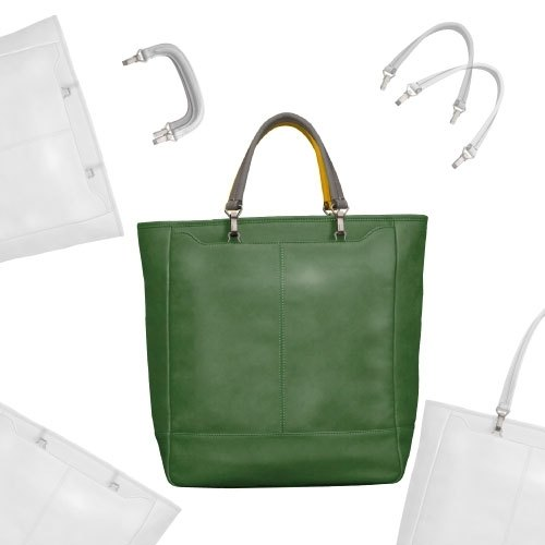 WHISKY handle custom leather tote bag (mint leaf)