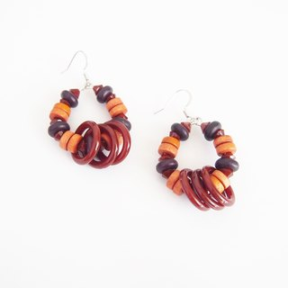 Wood earrings with brown hoops - Nickel Free