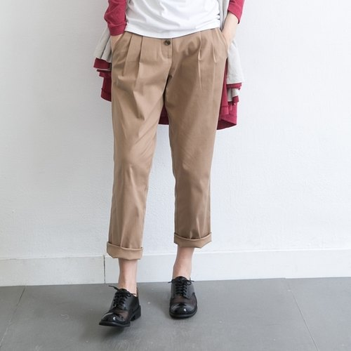 [Children] Xu Xu classic double pocket design pants - khaki