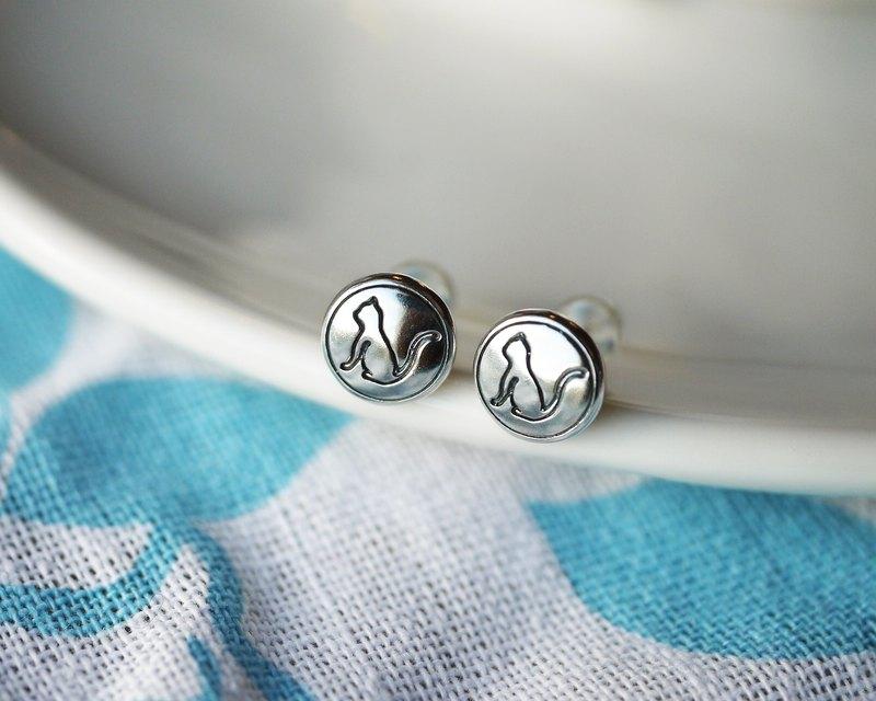 手工925純銀【貓咪剪影 Logo 耳環】就是愛謎夏~