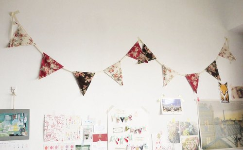 Miscellaneous hand made zakka rustic style groceries. Cotton cloth pennants (10 / Lady Rose)