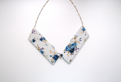 Collar Necklace| Blue Floral