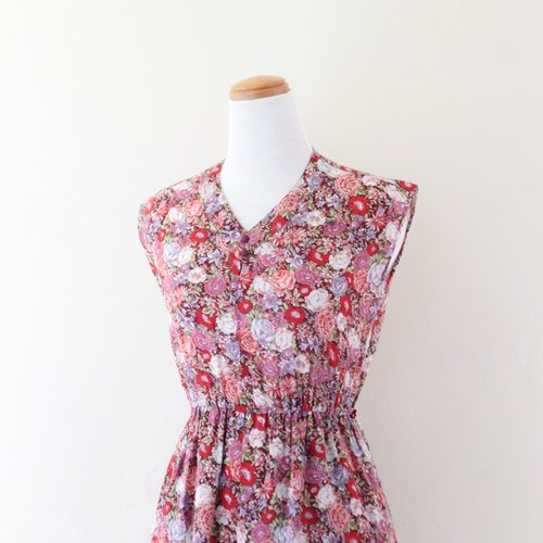 [RE0708D394] Great vintage red line full version flowers cotton vintage dress