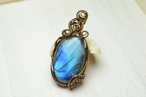 AAA labradorite design pendant wire / copper / winding / Manual / Accessories / Crystal / Natural stone