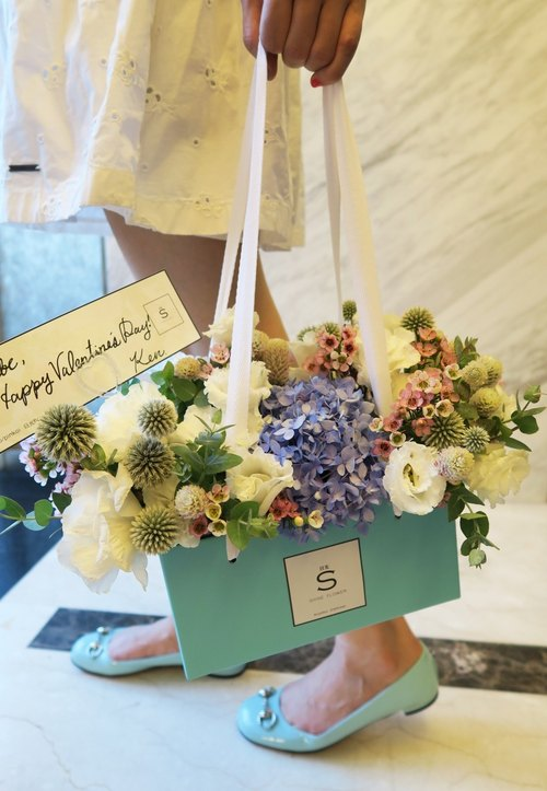 [Valentines Day Summer Garden Portable fragrance candle flower ceremony x] (large) 40*25*25 cm sweet Tiffany Blue - 9% off Preorder Time: 8 / 1-8 / 11