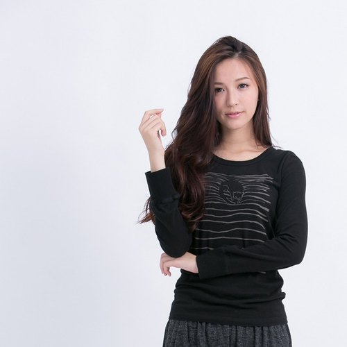 Peach cotton long-sleeved striped female cat black T