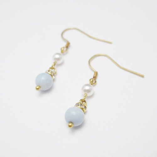[MUCHU Mu orange] friendship. Amazonite brass shell pearl earrings FE013