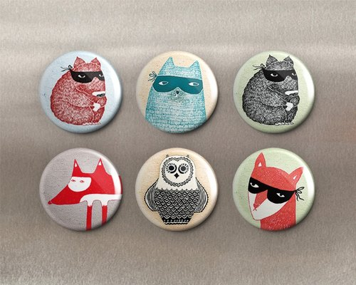 Nocturnal animals - magnet (6 in) ︱ badge (6 in) ︱ ︱ decorative and practical small things fashion accessories