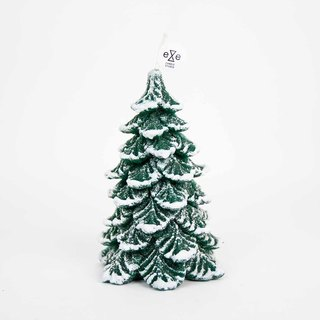Snowy Pine Tree Candle - green