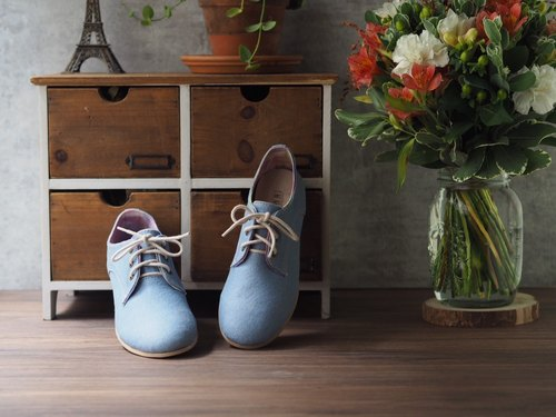 He loves flowers handmade shoes Germany - aqua blue single Ningbu