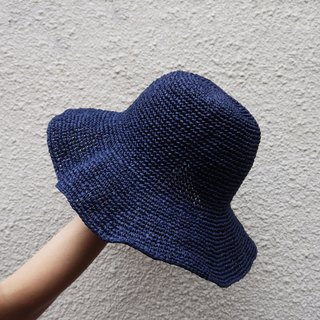 A mother's hand-made cap - summer paper rope cap dark blue / Mother's Day