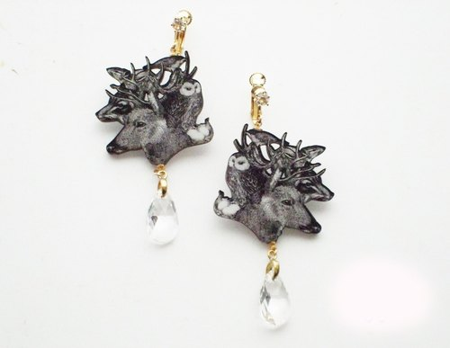 Forest animals dressed crystal clip earrings ☆ ☆ / Wood clip earrings series wooden clip on earrings