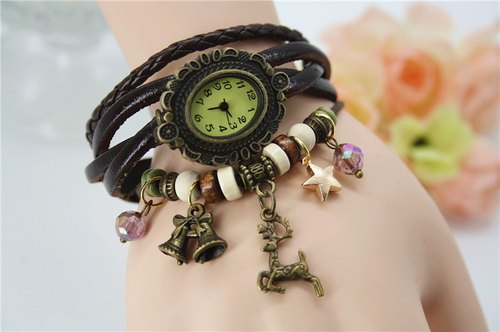Christmas coming! X'mas coming! Deer bracelet watch vintage jewelry