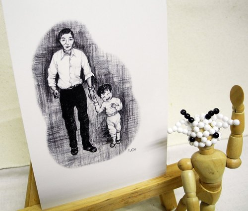 PuChi / Self-Portrait / Family / postcard / Love / Father's Day Card