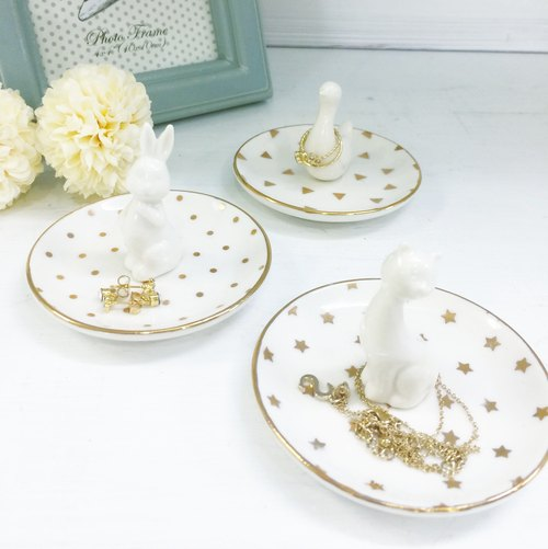 [ChouChou Lista] Japanese white porcelain plate with gold jewelry