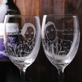 (One pair price) 350cc [MSA] married Portrait of a cup (Realistic Version) Secret Garden Q edition doll bride and groom red wine glass sculpture to commemorate Valentine's Day gift set of wine glasses engraved lettering custom wedding gift