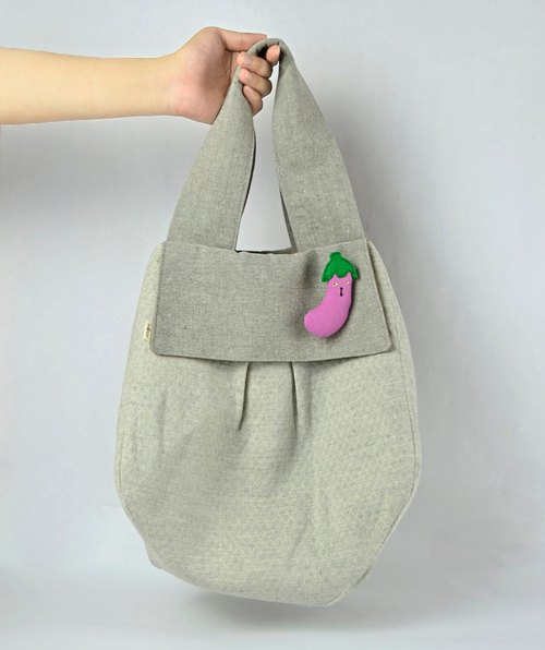 Department of Forestry wide handle bag / cat possessed eggplant pin attached
