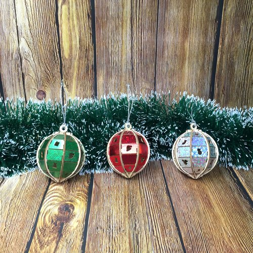 Christmas tree decoration ball wooden puzzle (a three)