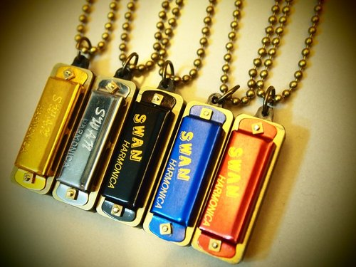 Retro mini harmonica long necklace Mini harmonica (ball chain section)