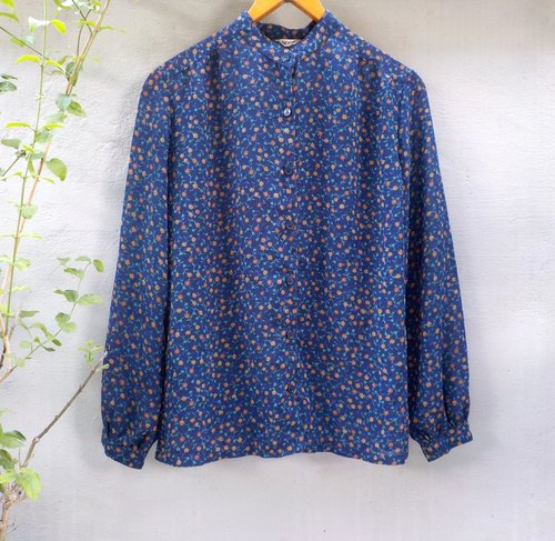 FOAK vintage sense of transparency flowers shirt