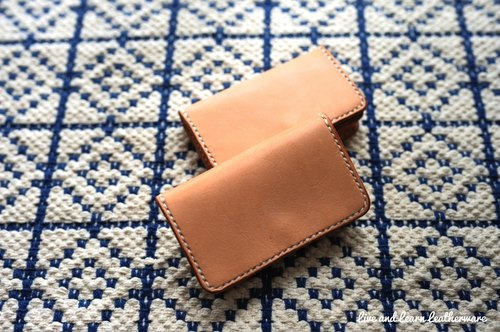 Live and Learn - primary Sew Card Holder (vegetable tanned leather)
