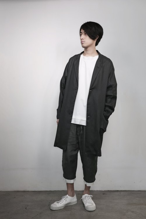 Hong Kong's independent creative brand Numb Workshop Men Long Linen Jacket BLACK