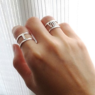 Roman numerals silver adjustable ring