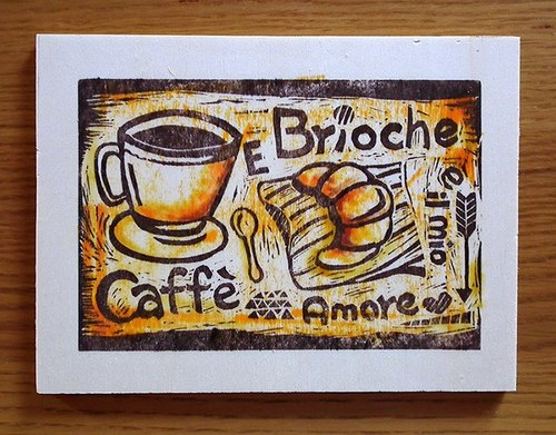Coffee and croissant wood painting